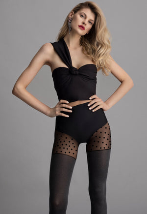 Midtown Girl Marl Opaque Tights with Polka Dot Brief by Fiore