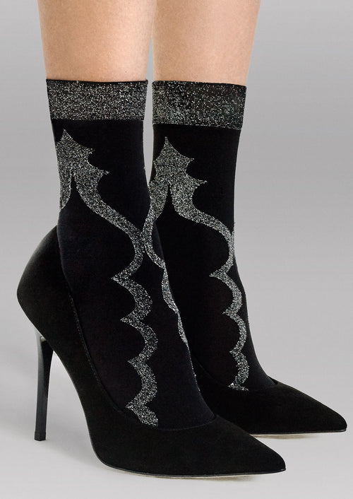 'Miss You' Lurex Patterned Opaque Socks by Fiore in Black-Silver