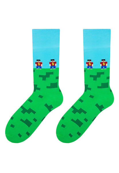 Minecraft Patterned Socks in Green & Turquoise by More