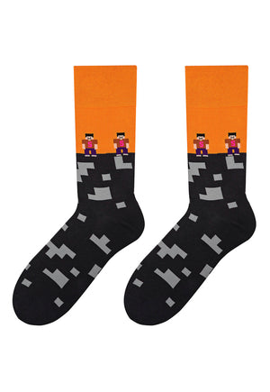 Minecraft Patterned Socks in Grey & Orange by More