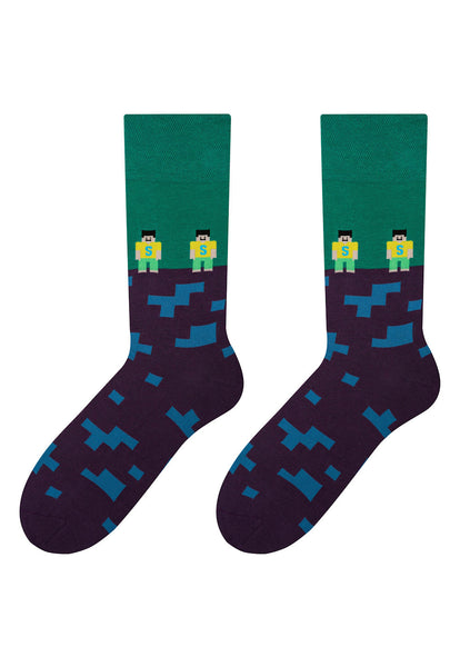 Minecraft Patterned Socks in Purple & Green by More