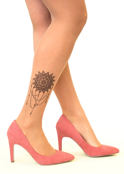 Mandala Sun Tattoo Printed Sheer Tights/Pantyhose