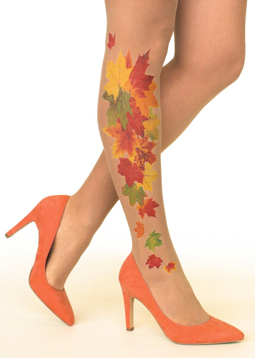 Maple Fall Tattoo Printed Sheer Tights/Pantyhose