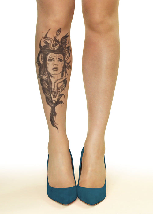 Medusa Head Tattoo Printed Sheer Tights/Pantyhose