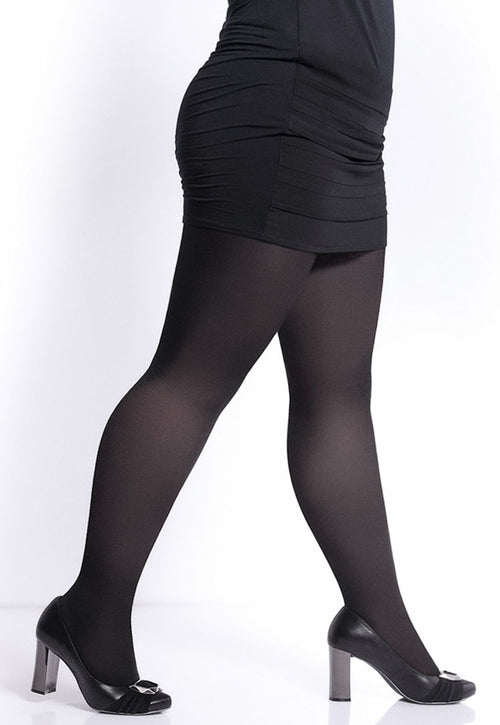 Molly 200 Den Plus Size Black Cotton Tights