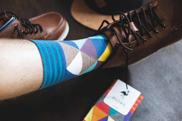 Mosaic Triangles Patterned Socks in Taupe by More