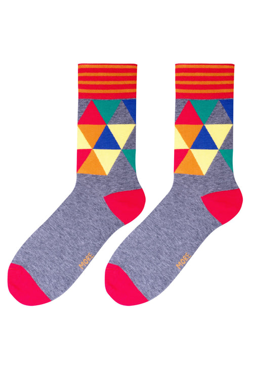 Mosaic Triangles Patterned Socks in Grey by More