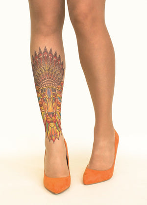 Native King Tattoo Printed Sheer Tights/Pantyhose