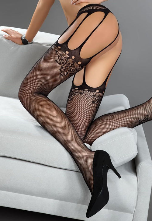 Nora Seamed Fishnet Suspender Tights by Livia Corsetti