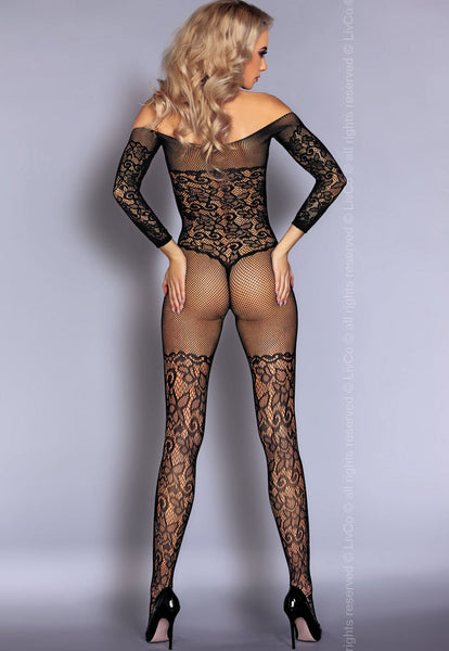 Nurya Floral Lace Bodice Black Bodystocking by LivCo