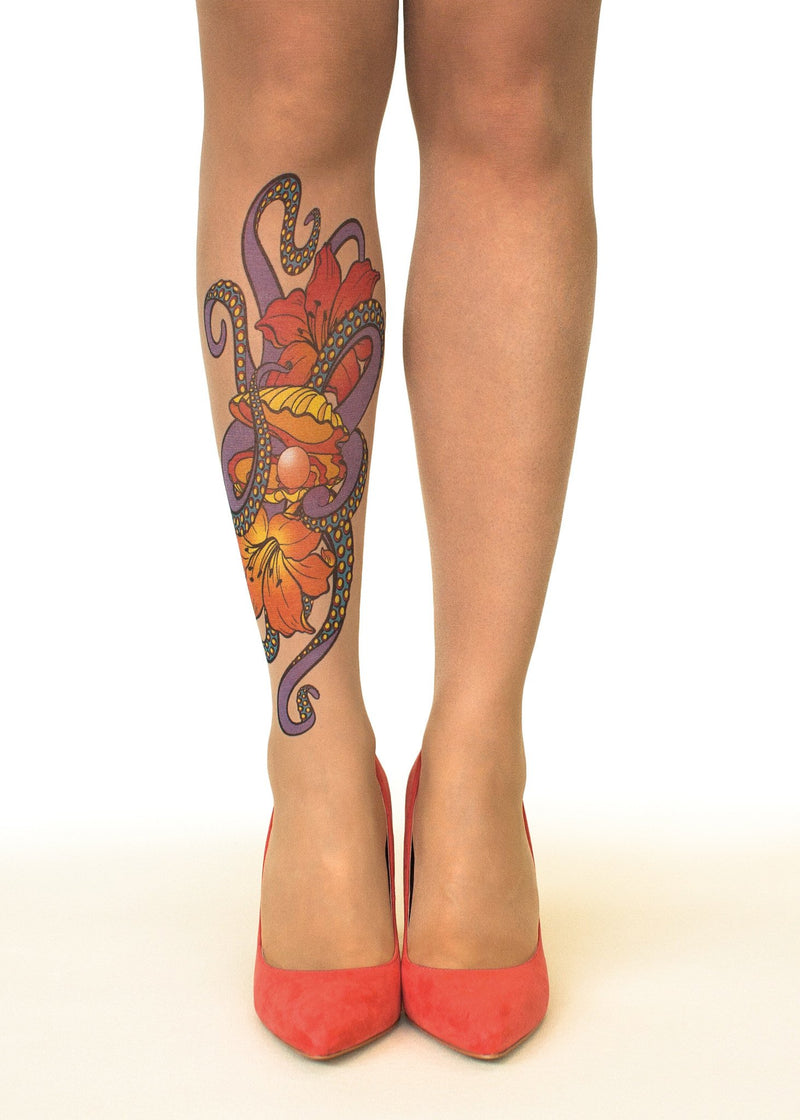 Octopus Embrace Tattoo Printed Sheer Tights/Pantyhose