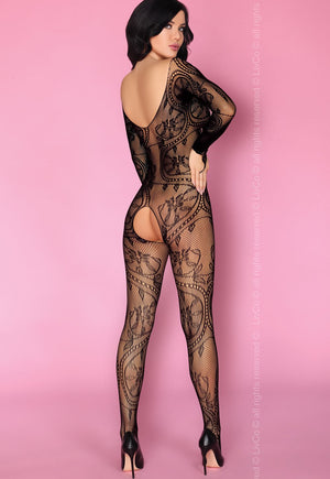 Olamiden Lace-Up Front Black Bodystocking by LivCo