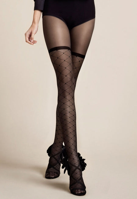 Liberty Dotted Diamonds Patterned Opaque Tights by Fiore