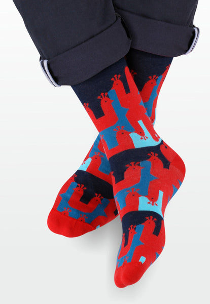 Peacock Patterned Socks in Red & Navy by More