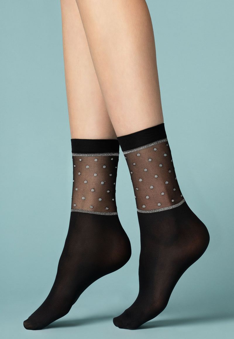 Prima Neve Black Opaque Socks with Silver Lurex Polka Dots Top by Fiore