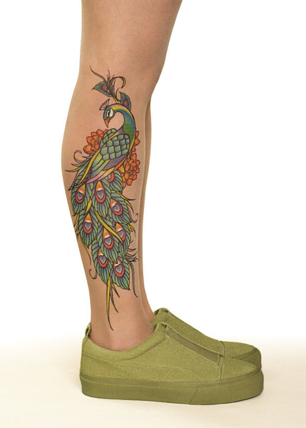 Peacock Charm Tattoo Printed Sheer Tights/Pantyhose