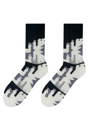 Peacock Patterned Socks in Black & White by More