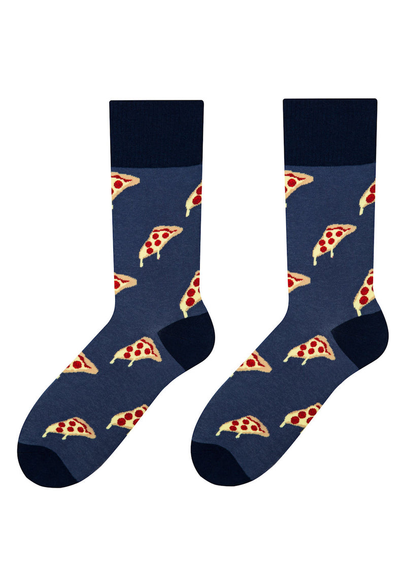 Pizza Slices Patterned Socks in Navy Blue by More