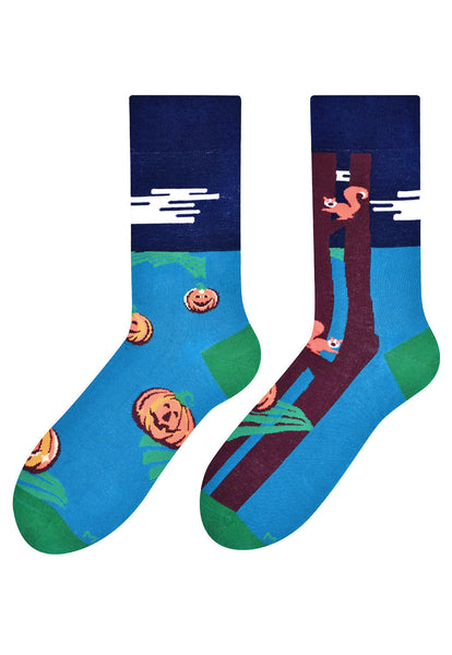 Squirrels & Pumpkins Patterned Socks in Teal by More