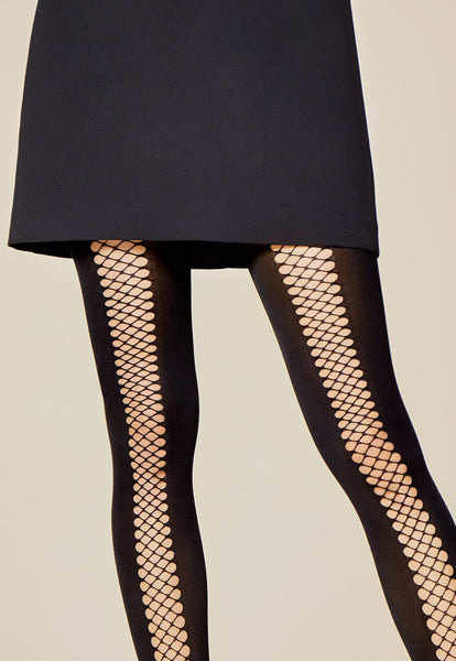 Rapide Fishnet & Opaque Black Panelled Tights by Fiore