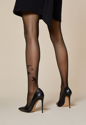 Rondini Swallows Tattoo Patterned Sheer Tights by Fiore