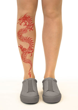 Red Dragon Tattoo Printed Sheer Tights/Pantyhose
