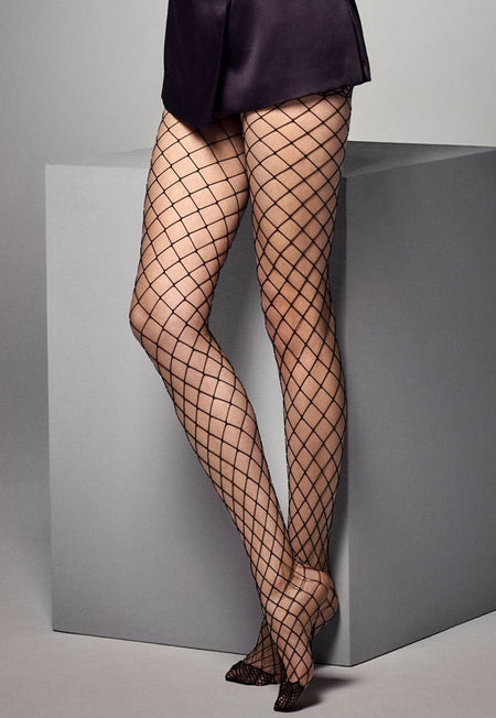 Rapide Fishnet & Opaque Panelled Tights by Fiore