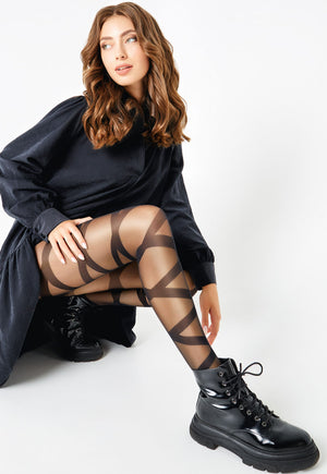 Ribbon 01 Wraparound Bondage Patterned Sheer Tights by Giulia