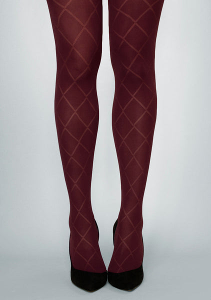 Rombo Grandi Diamond Patterned Tights in burgundy maroon red