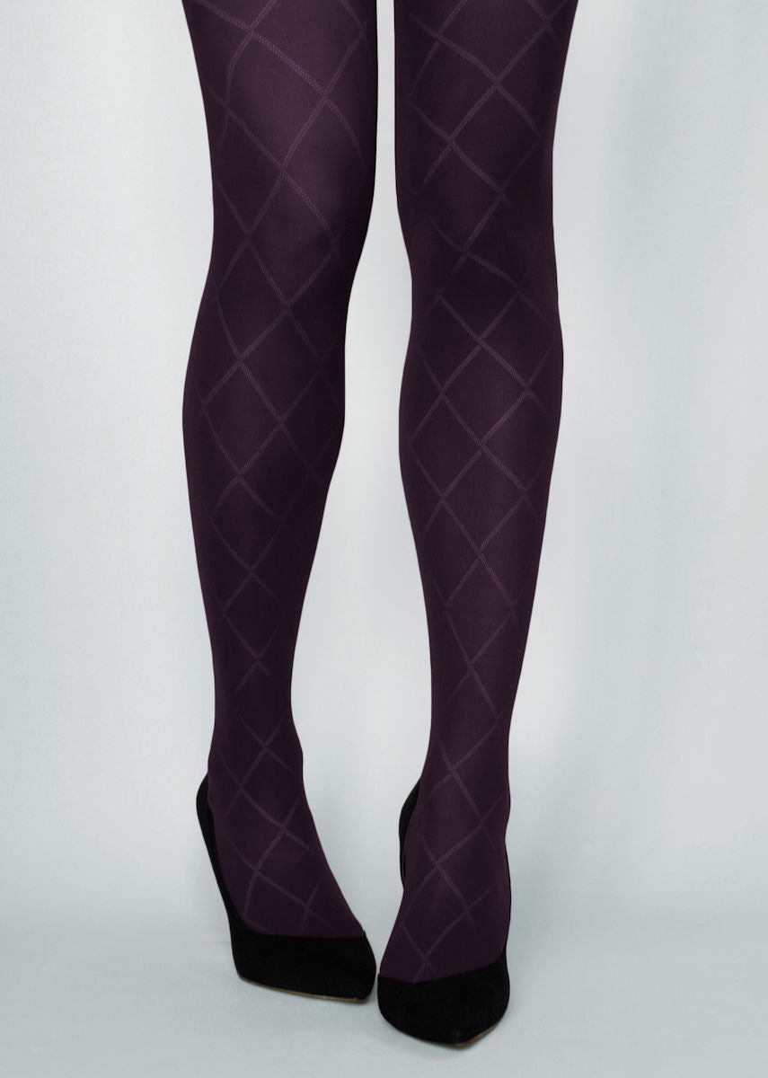 Rombo Grandi Diamond Patterned Tights in violet purple