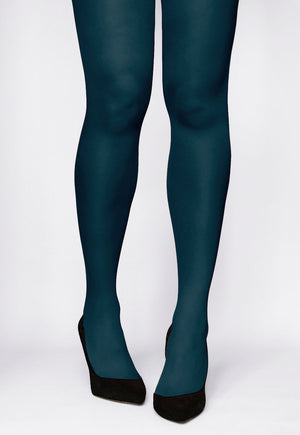 Rosalia 40 Den Coloured Opaque Tights by Gatta in la mer teal green blue