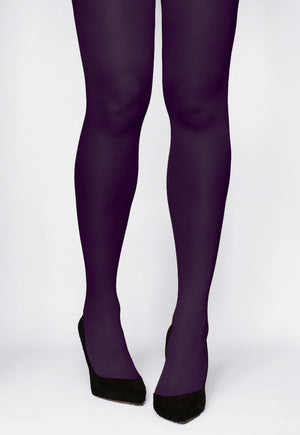 Rosalia 40 Den Coloured Opaque Tights by Gatta in prune violet purple