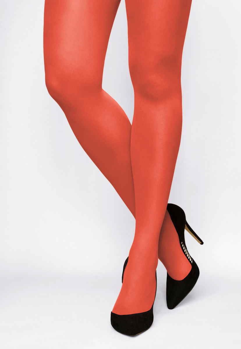 Rosalia 40 Den Coloured Opaque Tights in Arancia red orange