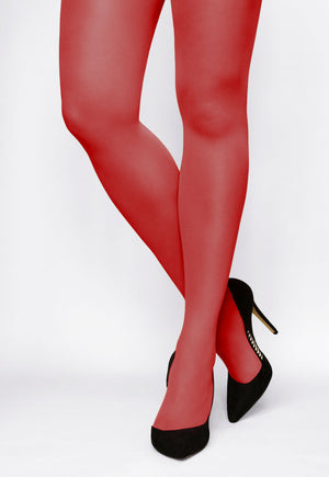 Rosalia 40 Den Coloured Opaque Tights in Ferrari red