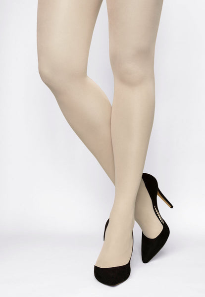 Rosalia 40 Den Coloured Opaque Tights in Panna ivory cream white