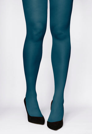 Rosalia 40 Den Coloured Opaque Tights in Tifone teal blue