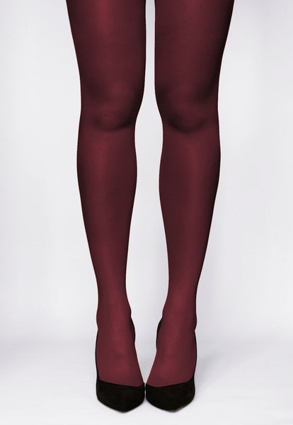 Rosalia 40 Den Coloured Opaque Tights in Vino Rosso burgundy maroon red