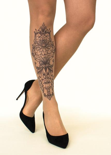 Royal Lotus Tattoo Printed Sheer Tights/Pantyhose