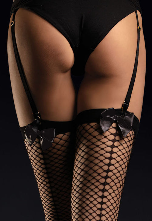 Satine Bow Seamed Black Fishnet Stockings by Fiore