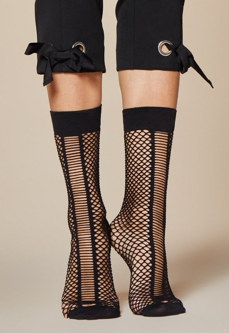 Scala Fishnet & Stripes Patterned Black Ankle Socks by Fiore
