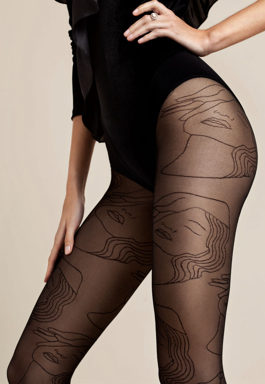 Simonetta Abstract Patterned Black Sheer Tights