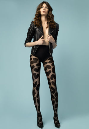 Sweetheart Mega Hearts Patterned Sheer Tights by Fiore in black