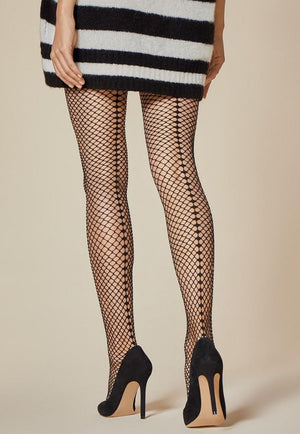 Salire Back Seamed Wide Fishnet Black Tights by Fiore