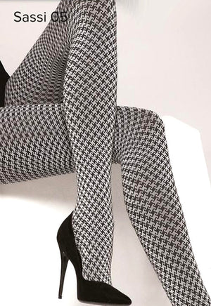 Sassi 05 Houndstooth Patterned Tights by Gatta in black white