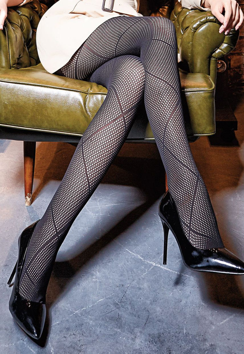 Saty Rete 01 Openwork Fishnet Tights by Giulia in black