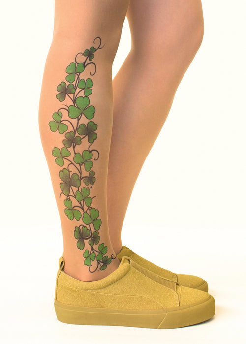 Shamrock Vine Tattoo Printed Sheer Tights/Pantyhose