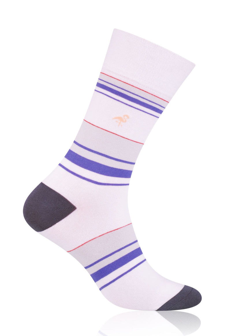 Striped Patterned Socks in White & Purple by More