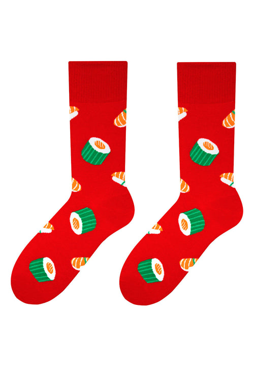 Sushi Patterned Socks in Red by More