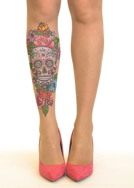 Sugar Skull Tattoo Printed Sheer Tights/Pantyhose