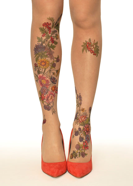Summer Garden Tattoo Printed Sheer Tights/Pantyhose